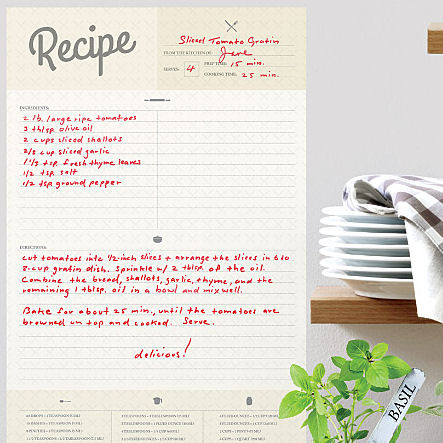 Recipe Card Dry Erase Wall Decal  - Wall Sticker Outlet