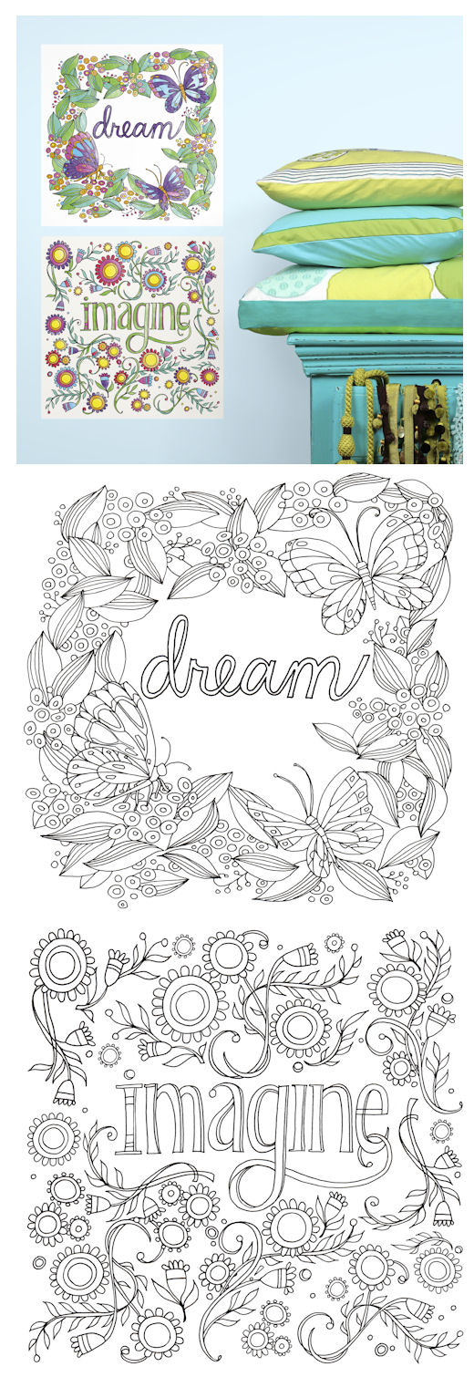 Dream and Imagine Peel and Stick Color Your Decal - Wall Sticker Outlet