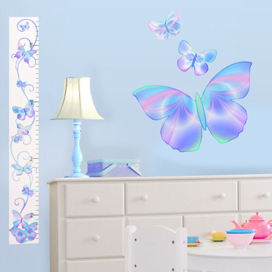 Fluttering Butterfly Blue Peel Stick Growth Chart - Kids Wall Decor Store