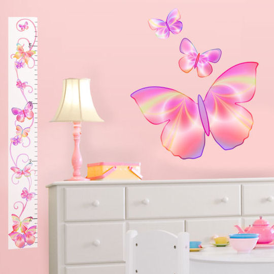 Fluttering Butterfly Pink Peel Stick Growth Chart - Kids Wall Decor Store