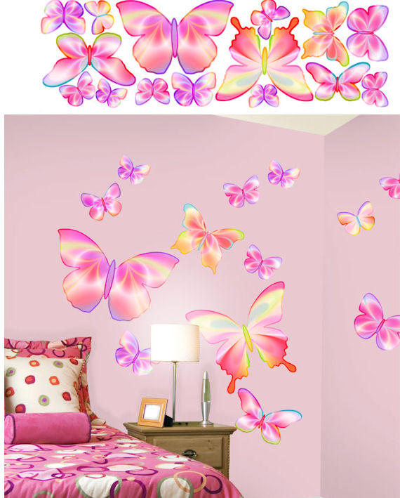 Pink Butterfly Wall Decoration : Butterfly pink peel and stick stickers kids wall decor store