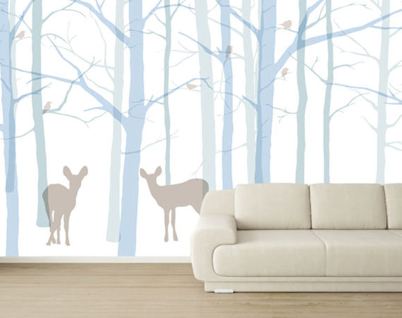 Forest friends bright easy up wall mural for Easy wall mural