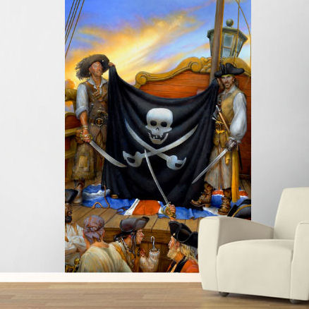 Jolly Roger Pre Pasted Wall Mural - Wall Sticker Outlet