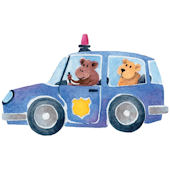 Safari Friends Police Peel and Stick Wall Mural