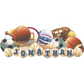 Sports Balls Personalized Peel and Stick Mural