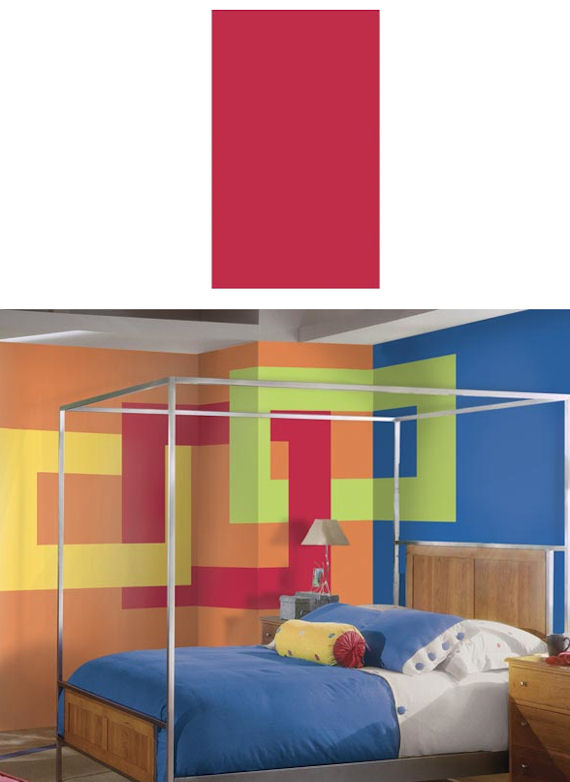 Fire Red Wide Super Stripe PrePasted Wall Border  - Kids Wall Decor Store
