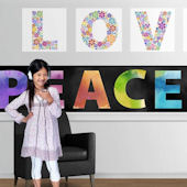 Peace and Love Bright with Black Mini Mural
