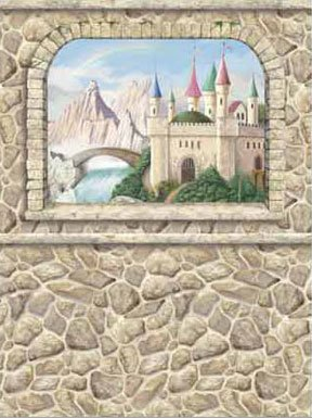 Castle window pre pasted mural kids wall decor store for Castle window mural