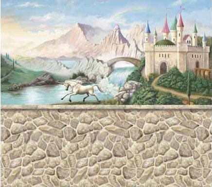 Stone wall castle pre pasted mural for Castle wall mural