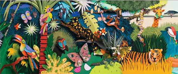 Colorful 3d Safari Jungle Pre Pasted Mural