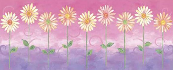 Pink Big Daisies Medium Pre Pasted Wall Mural - Kids Wall Decor Store