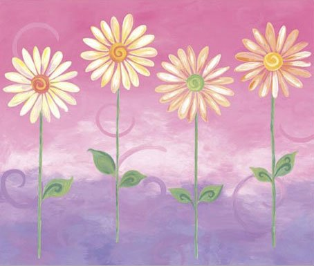 Pink Big Daisies Large Pre Pasted Wall Mural - Kids Wall Decor Store