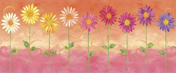Orange Big Daisies Medium Pre Pasted Wall Mural - Kids Wall Decor Store