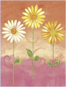 Orange Big Daisies Small Pre Pasted Wall Mural - Kids Wall Decor Store