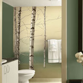 Birch Tree Tella Mural Green