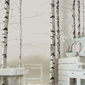 Birch Tree Tella Mural Neutral