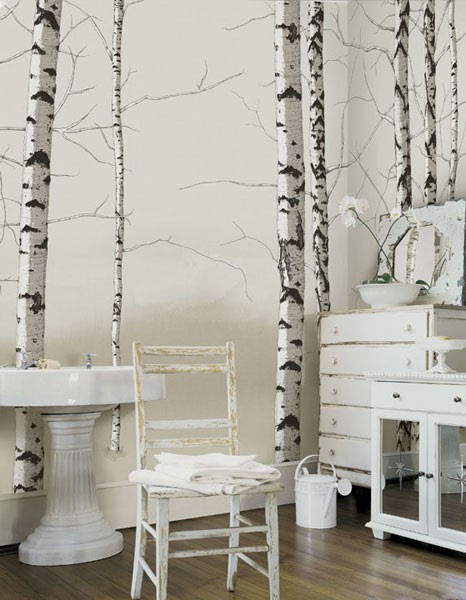 Birch tree tella mural neutral for Birch trees mural