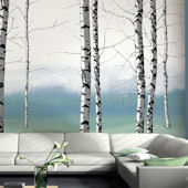 Birch Tree Tella Mural Teal
