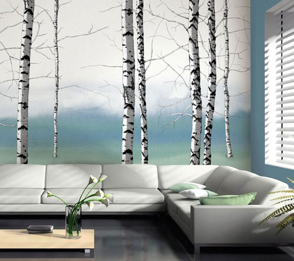 Birch tree tella mural teal for Birch tree wall mural