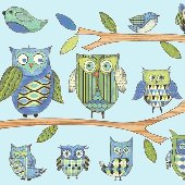 Blue Owl Prepasted Wall Mural