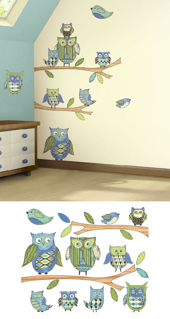 Blue Owl Prepasted Wall Mural - Kids Wall Decor Store