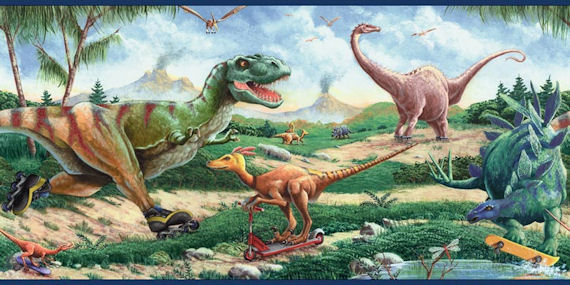 Dinosaurs on Wheels Border - Kids Wall Decor Store