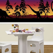 Dinosaur Silhouettes Red Violet Mini Mural