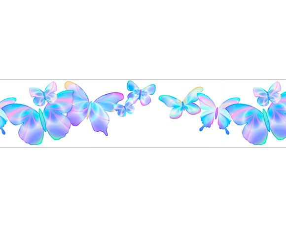 Fluttering Butterfly Blue Freestyle Border - Wall Sticker Outlet