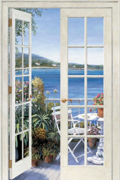 French doors seaside peel and stick wall mural for Door mural wallpaper