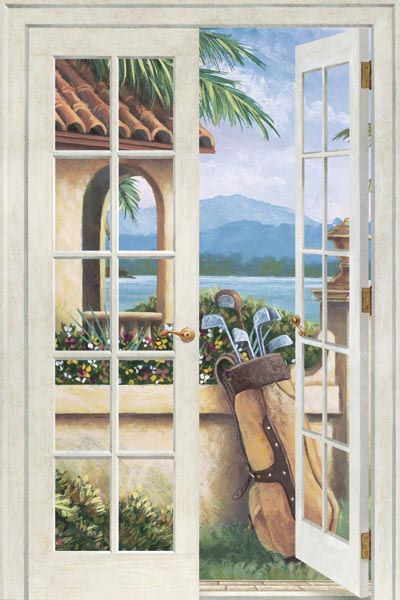 french doors island golf peel and stick wall mural
