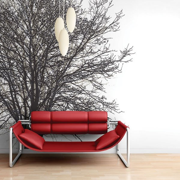 tree hugger tella mural black and white