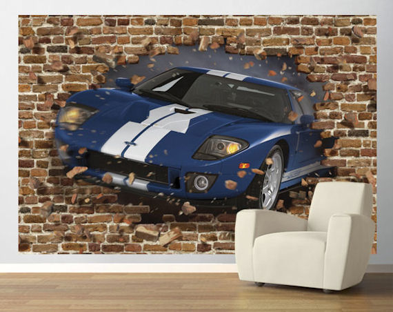 Blue ford gt through the wall pre pasted mural for Car crashing through wall mural