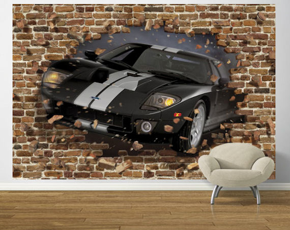Black ford gt through the wall pre pasted mural for Car wallpaper mural