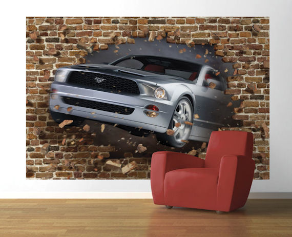 Mustang GT Concept Coupe Pre Pasted Mural   Wall Sticker Outlet