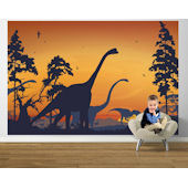 Dinosaur Landscape Blue and Orange Easy Up Mural