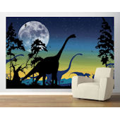 Dinosaur Landscape Navy  Pre Pasted Mural