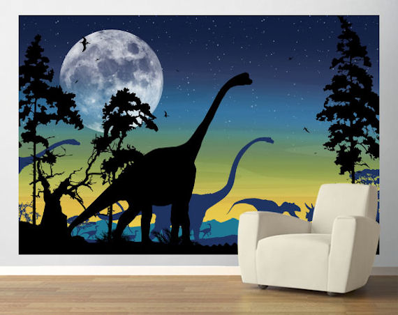 Dinosaur landscape navy easy up mural for Dinosaur wall mural uk