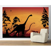 Dinosaur Landscape Orange  Easy Up Mural