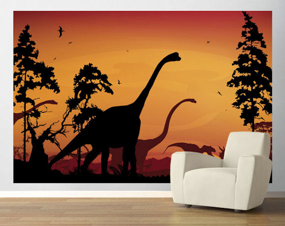 Dinosaur Landscape Orange Pre Pasted Mural
