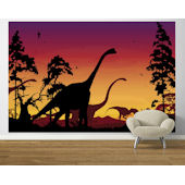 Dinosaur Landscape Red Violet  Easy Up Mural