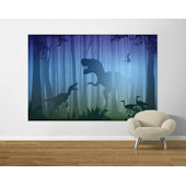 T Rex In The Woods Blue and Green  Easy Up Mural