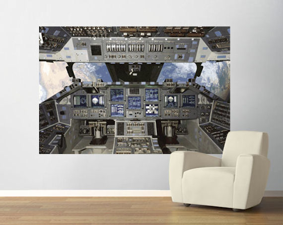 Shuttle Cockpit  Pre Pasted Mural - Wall Sticker Outlet
