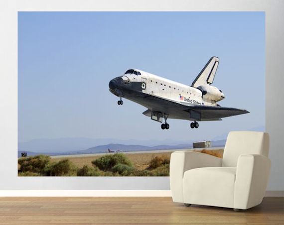 Shuttle Landing Pre Pasted Mural - Wall Sticker Outlet