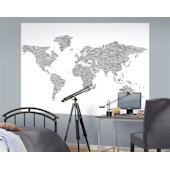 Black on White One World  Pre Pasted Mural