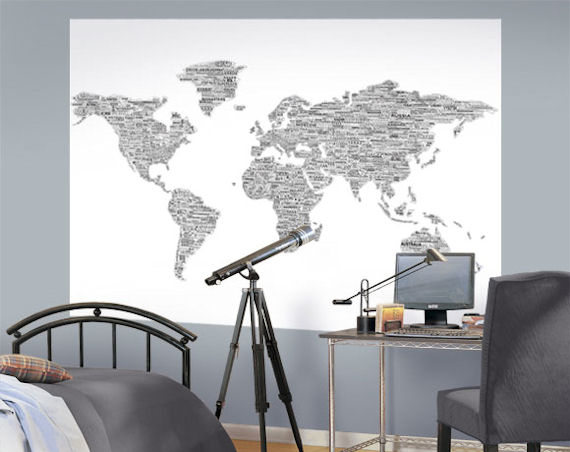 Black White Peace Love World Map Easy Up Mural   Wall Sticker Outlet