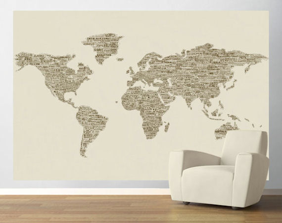 Brown peace and love world map easy up mural for Easy wall mural