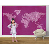 Pink  Peace and  Love World Map Easy Up Mural