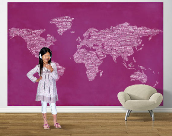 Pink peace and love world map easy up mural gumiabroncs Choice Image