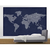 Navy  Peace and  Love World Map Easy Up Mural