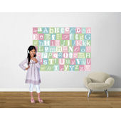 Now I Know My ABCs Teal and Pink Pre Pasted Mural